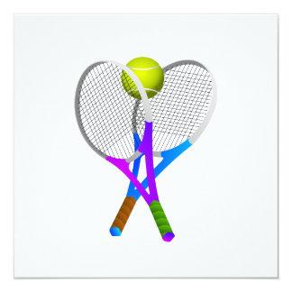 Tennis Ball and Rackets 13 Cm X 13 Cm Square Invitation Card