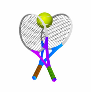 Tennis Ball and Rackets Standing Photo Sculpture