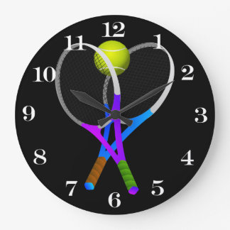 Tennis Ball and Rackets Wall Clocks