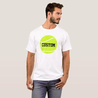 Tennis Ball and Text Men's Basic White T-shirt