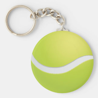 Tennis Ball Basic Round Button Key Ring