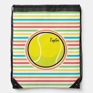 Tennis Ball; Bright Rainbow Stripes Drawstring Bag