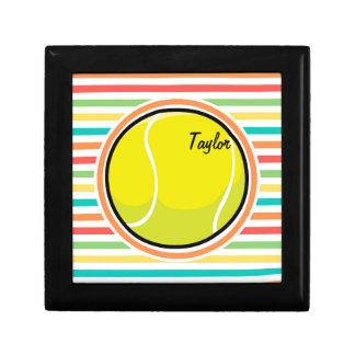 Tennis Ball Bright Rainbow Stripes Keepsake Box