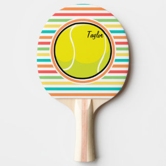 Tennis Ball; Bright Rainbow Stripes Ping Pong Paddle