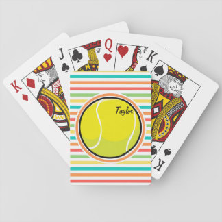 Tennis Ball; Bright Rainbow Stripes Playing Cards