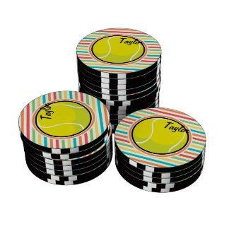 Tennis Ball; Bright Rainbow Stripes Poker Chips