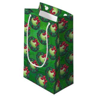 Tennis Ball Christmas Wreath Pattern on Green Small Gift Bag