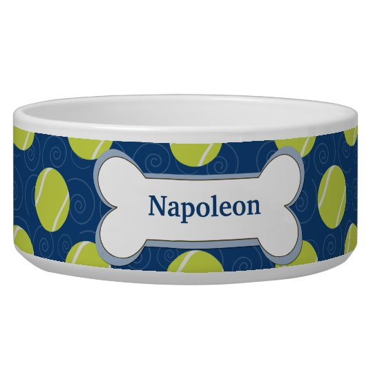 Tennis Ball Customised Dog Food Bowl - Navy Blue