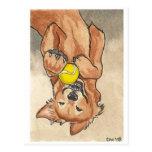 Tennis Ball Fun Golden Retriever Dog Art Post Card