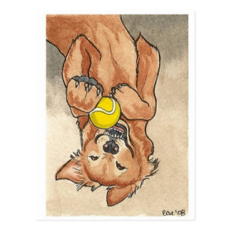 Tennis Ball Fun Golden Retriever Dog Art Postcard