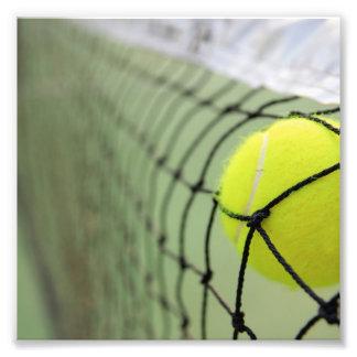 Tennis Ball Hitting Net Photograph
