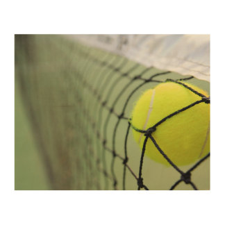 Tennis Ball Hitting Net Wood Print