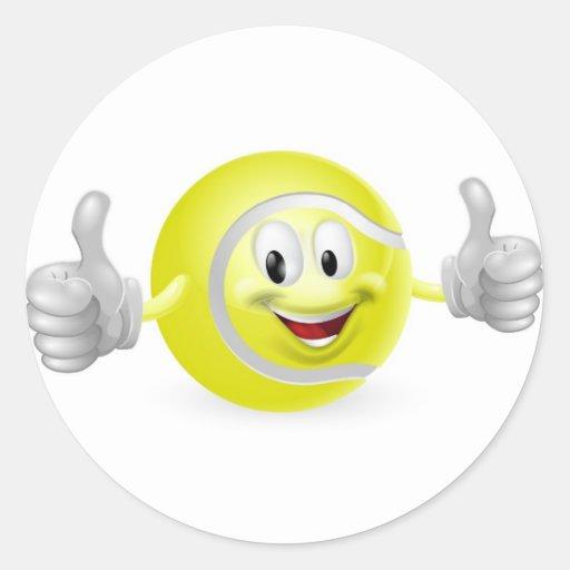 Tennis Ball Mascot Round Stickers