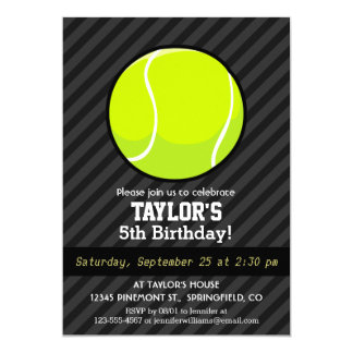 Tennis Ball on Black & Dark Gray Stripes Card
