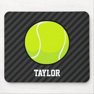 Tennis Ball on Black & Dark Gray Stripes Mouse Pad