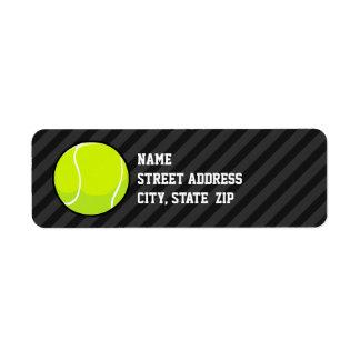 Tennis Ball on Black & Dark Gray Stripes Return Address Label