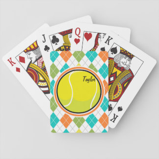 Tennis Ball on Colorful Argyle Pattern Playing Cards
