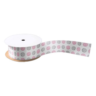 Tennis Ball Pattern Pink and Grey Satin Ribbon