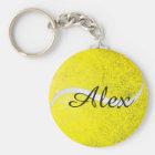Tennis ball personalised name key ring