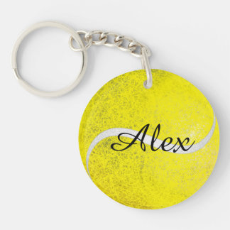 Tennis ball personalized name Double-Sided round acrylic key ring