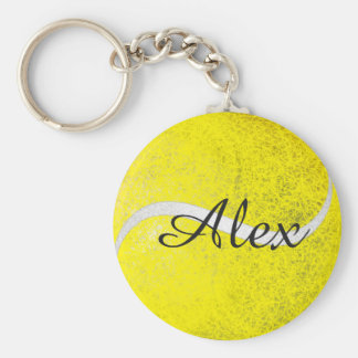 Tennis ball personalized name basic round button key ring