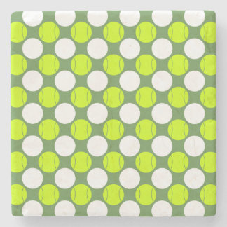 Tennis Ball Polka Dot Pattern Stone Coaster
