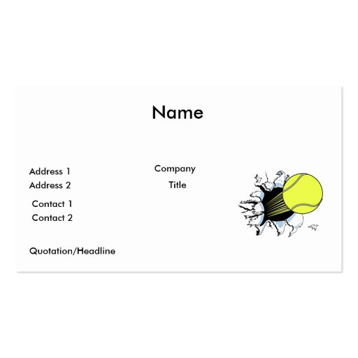 tennis ball ripping through business card template