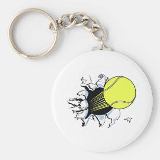 tennis ball ripping through basic round button key ring