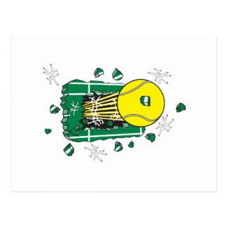 tennis ball ripping thru postcard