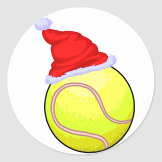 Tennis Ball Santa Hat Sticker