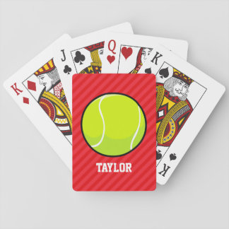 Tennis Ball; Scarlet Red Stripes Playing Cards