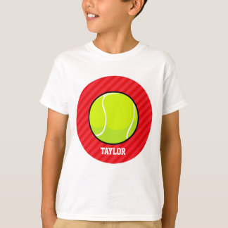 Tennis Ball; Scarlet Red Stripes T-Shirt