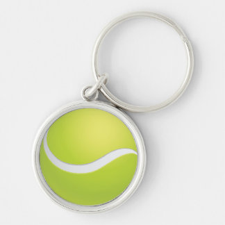 Tennis Ball Silver-Colored Round Key Ring