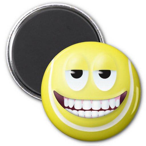 Tennis Ball Smiley Face 2 Fridge Magnets