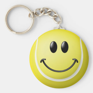 Tennis Ball Smiley Face Basic Round Button Key Ring