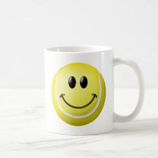 Tennis Ball Smiley Face Coffee Mugs