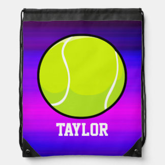 Tennis Ball; Vibrant Violet Blue and Magenta Drawstring Bag