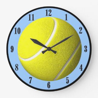 Tennis Ball Wall Clock Blue Court Black Numbers