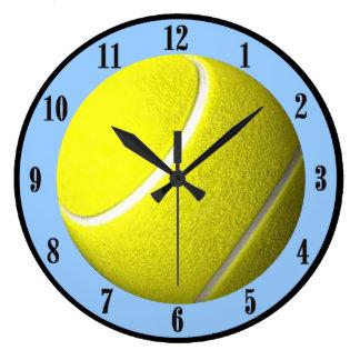 Tennis Ball Wall Clock Blue Court Black Numbers