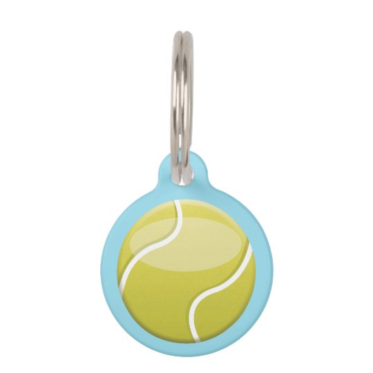 Tennis Ball With Custom Name And Number Pet ID Tag