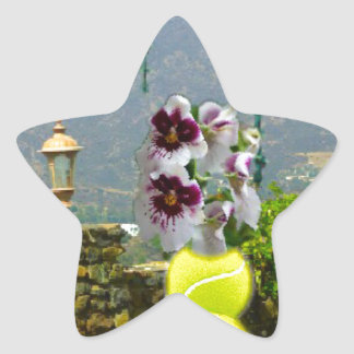 Tennis ball with orchids in a landscape star sticker