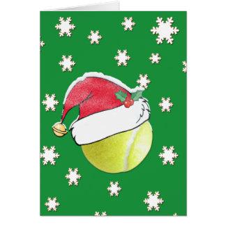 Tennis Ball With Santa Hat Christmas Card