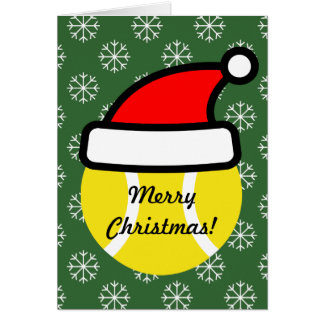 Tennis ball with Santa hat greeting card for Xmas