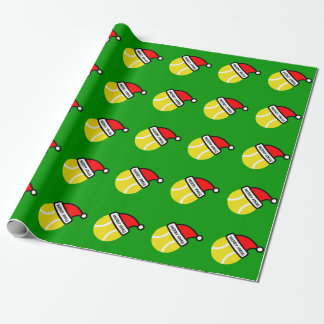 Tennis ball with Santa hat wrapping paper for Xmas