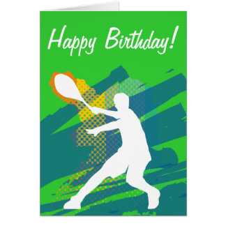 Tennis Birthday card with silhouette of player