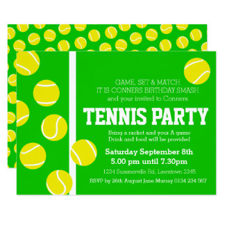 Tennis birthday party invite green, yellow & white