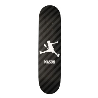 Tennis; Black & Dark Gray Stripes Skateboard