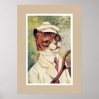 Tennis Cat Print