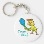 tennis chick basic round button key ring