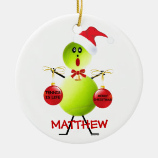 Tennis Christmas Cartoon Christmas Ornament
